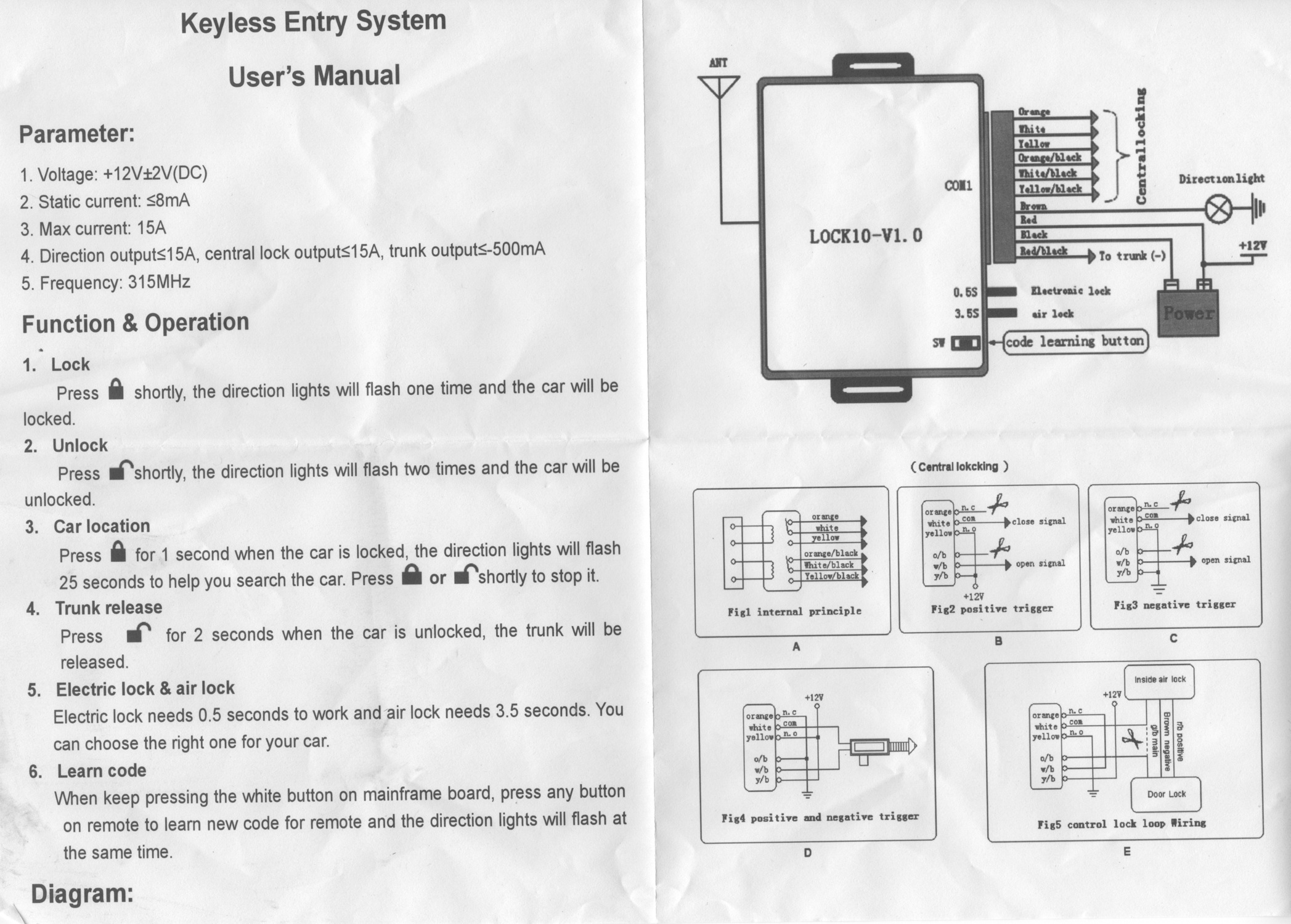 Diagram For Keyless Entry Systems Beginners Wiring Remote System To Garage Chinese Users Manual With Schematics